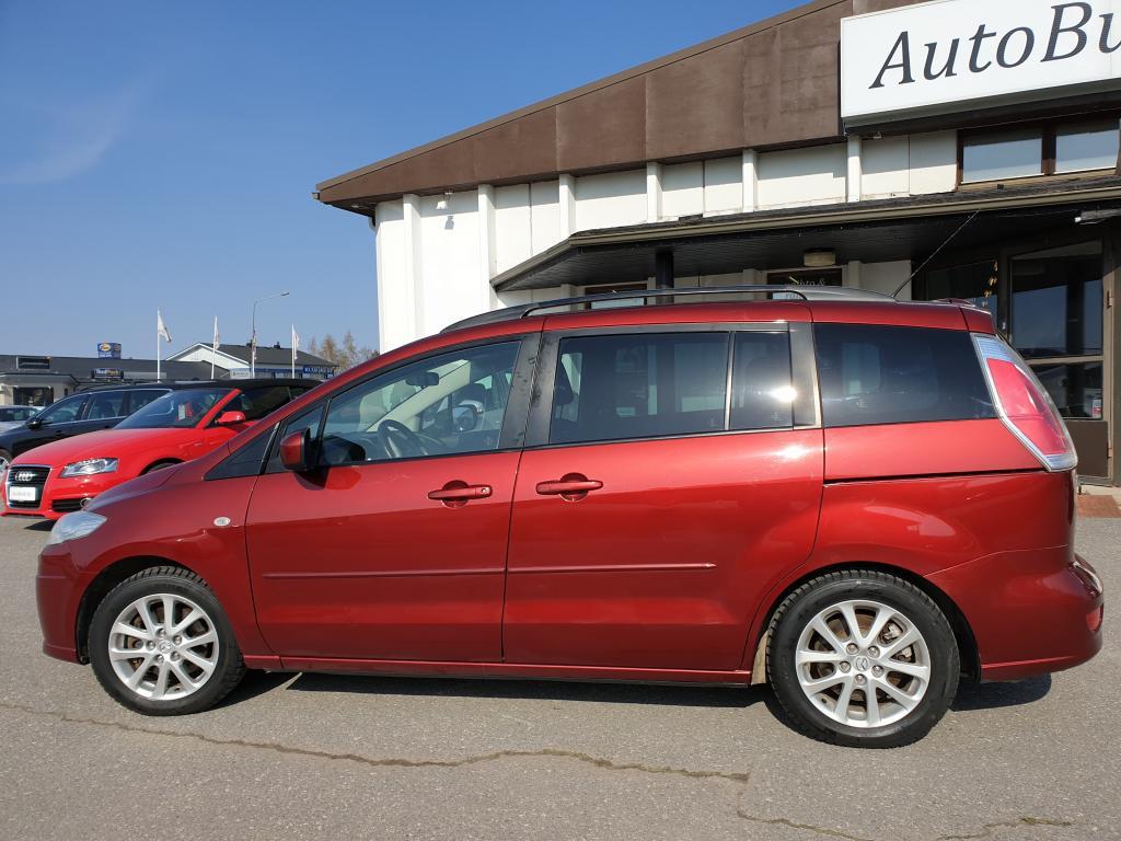 Mazda 5 2.0TD  ELEGANCE 5-OV 7 HENKILÖN TILA-AUTO 142 hv\r\nKESKIKULUTUS 6.1/100km. LIUKUOVET MOLEMMIN PUOLIN TAKANA RAHOITUS 0,